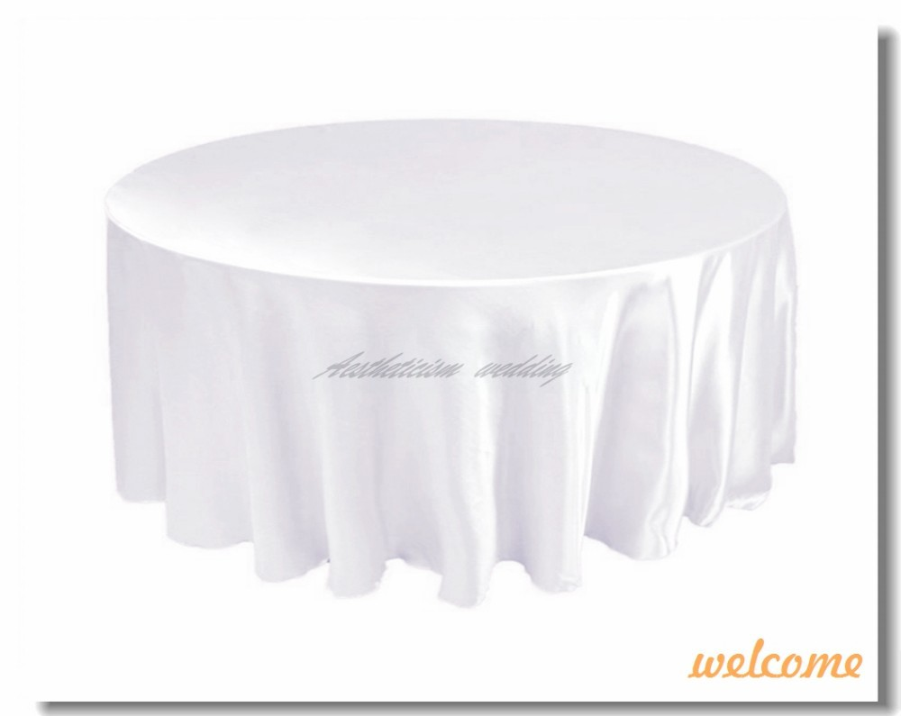 Nice Welcome 120 Round Tablecloth White For Dining Ideas