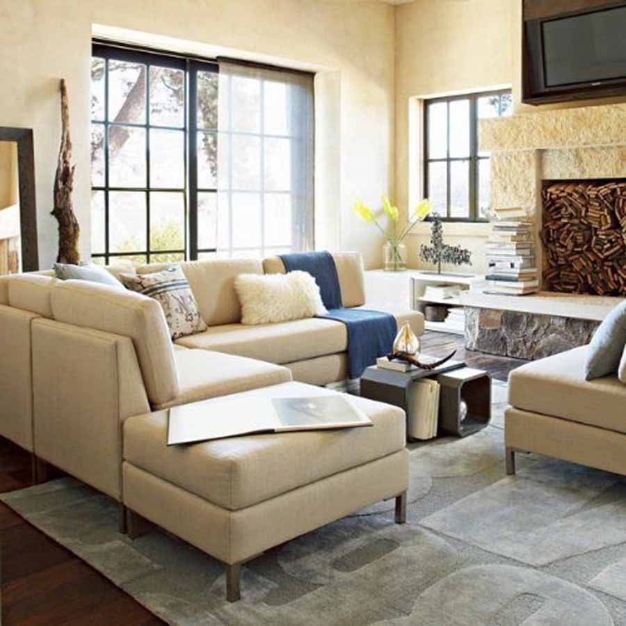 nice white cream living room sectionals with unique table and rug