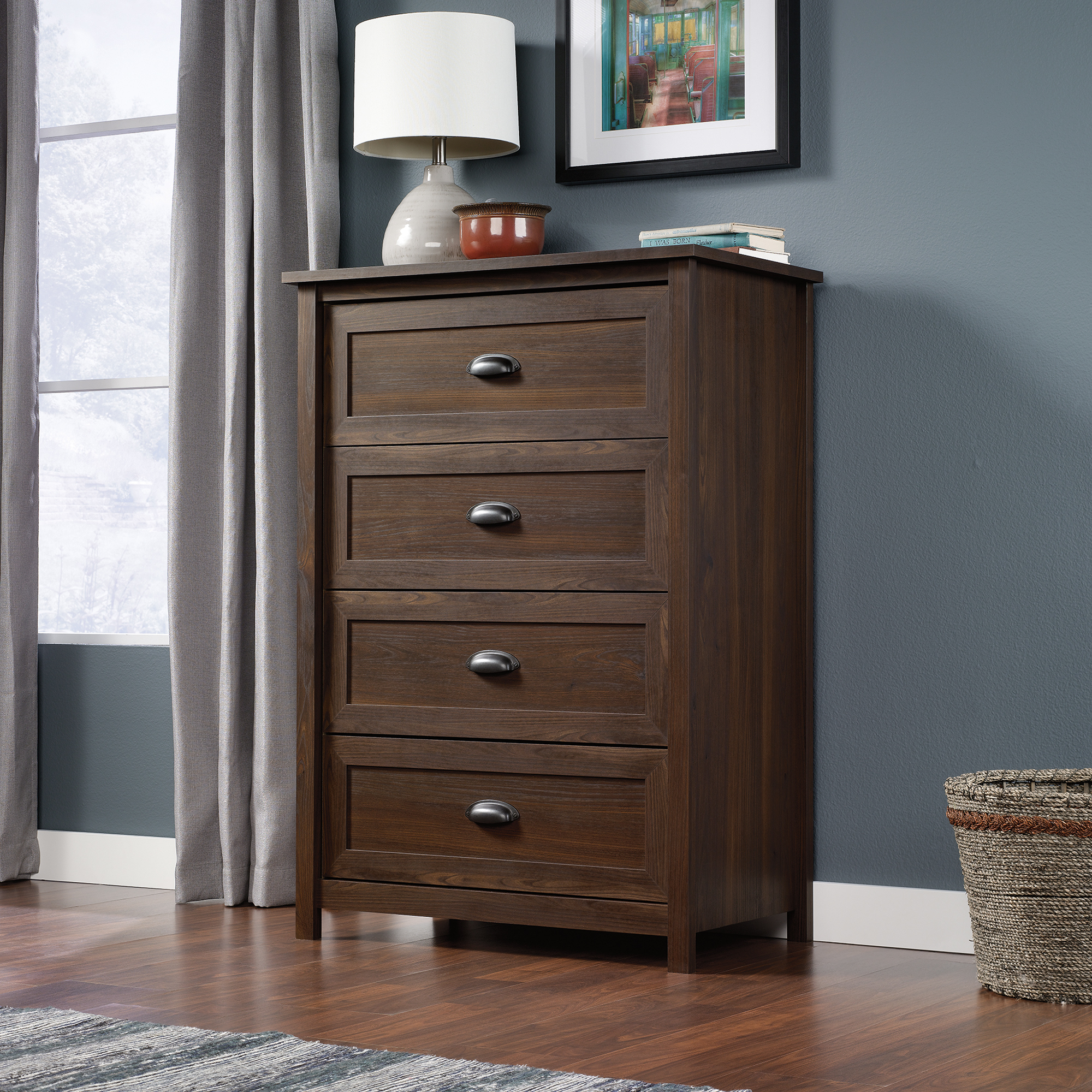 Unique Furniture Design Cabinet with 4 Drawer Dresser for Bedroom Ideas: Nightlamp Above 4 Drawer Dresser