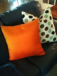 Orange And White Polkadots Also Black Sofa Sofa Pillows