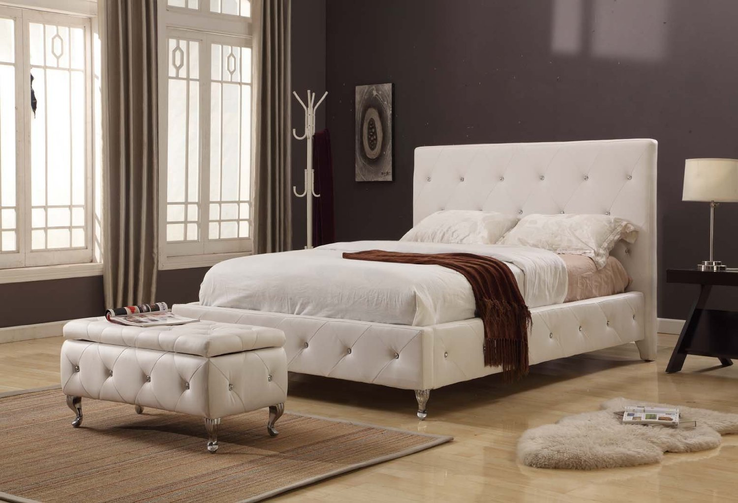 ottoman with pouf queen size platform bed