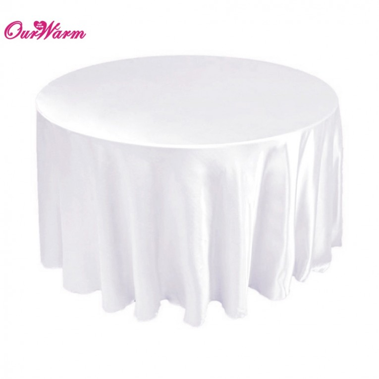 Our Fabric White 120 Round Tablecloth