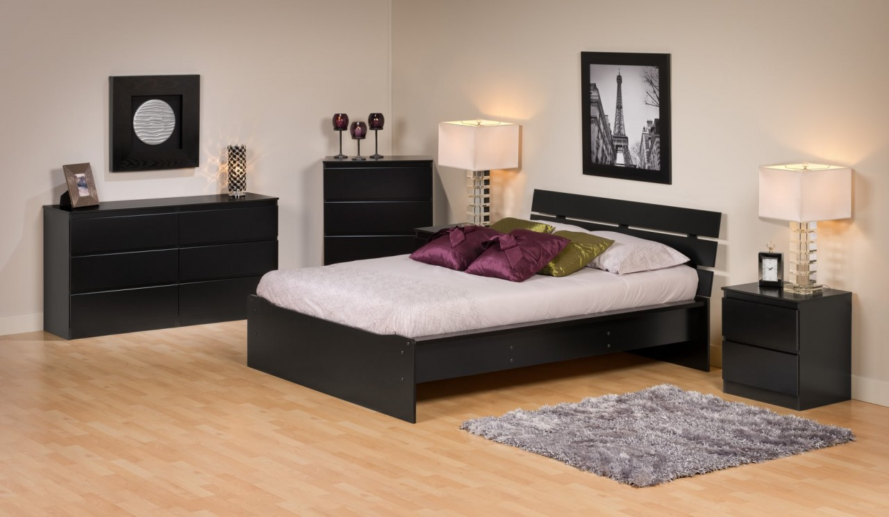 pair night lamp and laminate flooring and rugs plus queen size platform bed