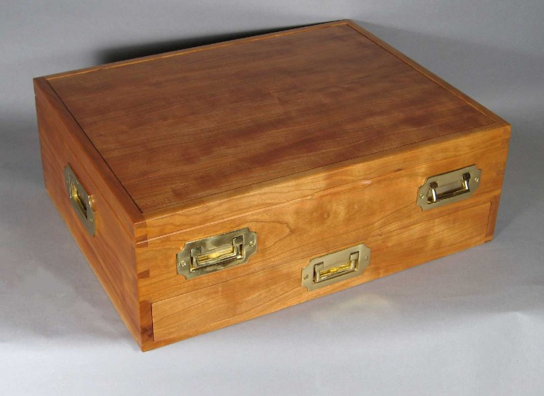 Pine Silverware Chest With Vintage Furnishing