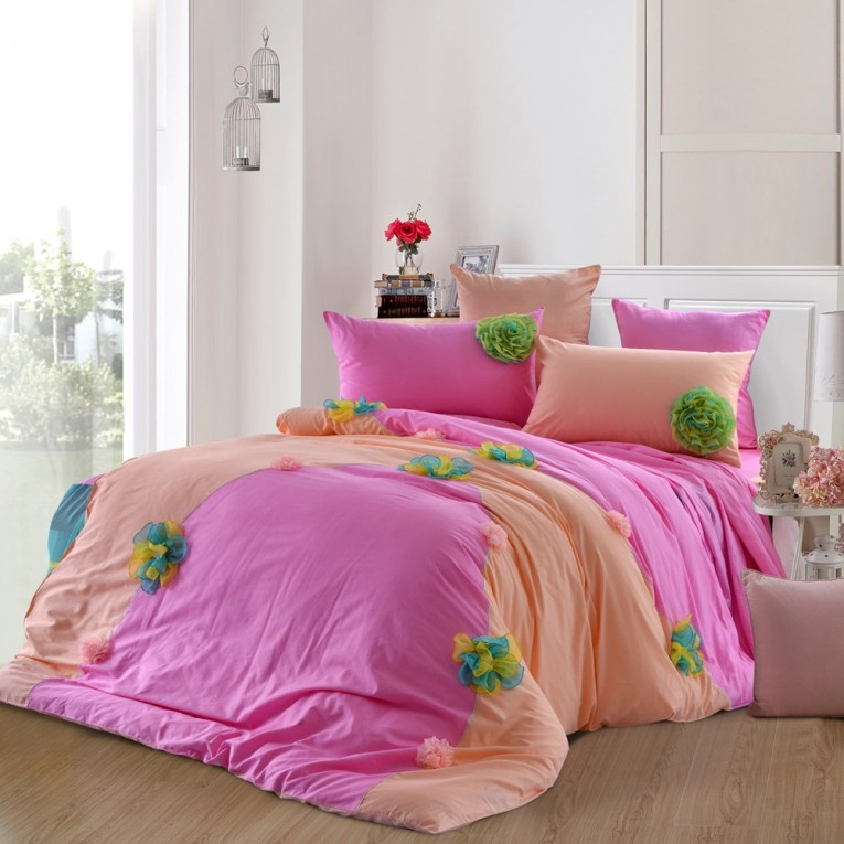 Pink And Light Orange Ruffle Comforter With Lowes Sidetable