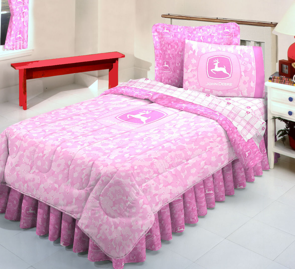 pink colors natori bedding and sidetable
