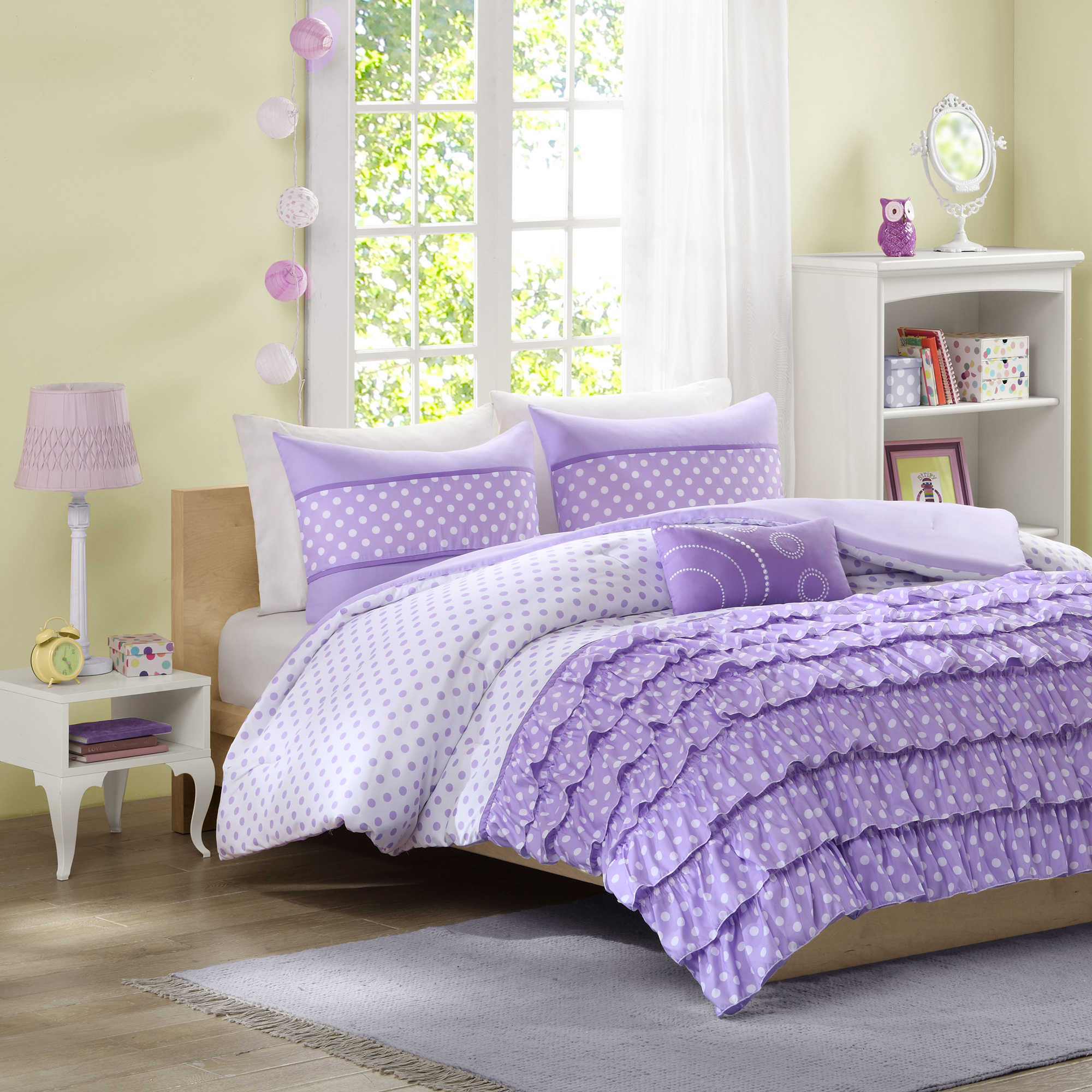 polkadots purple ruffle comforter with mini lowes sidetable plus cabinet