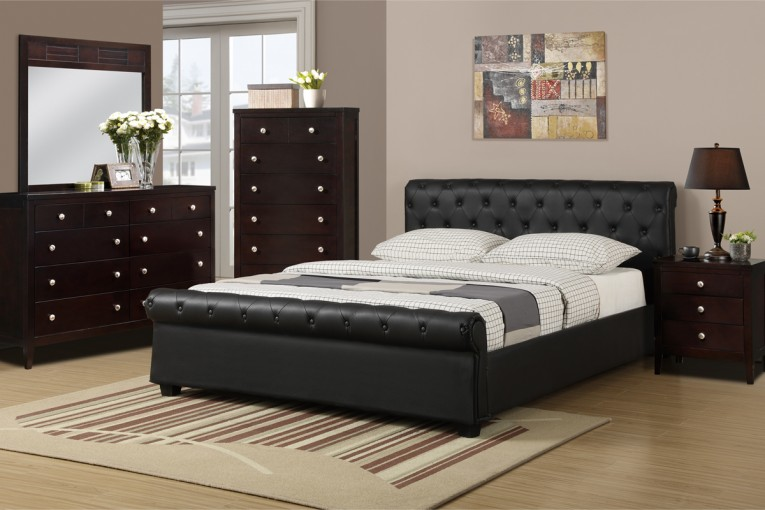 Queen Size Platform Bed With Night Lamp And Sidetable