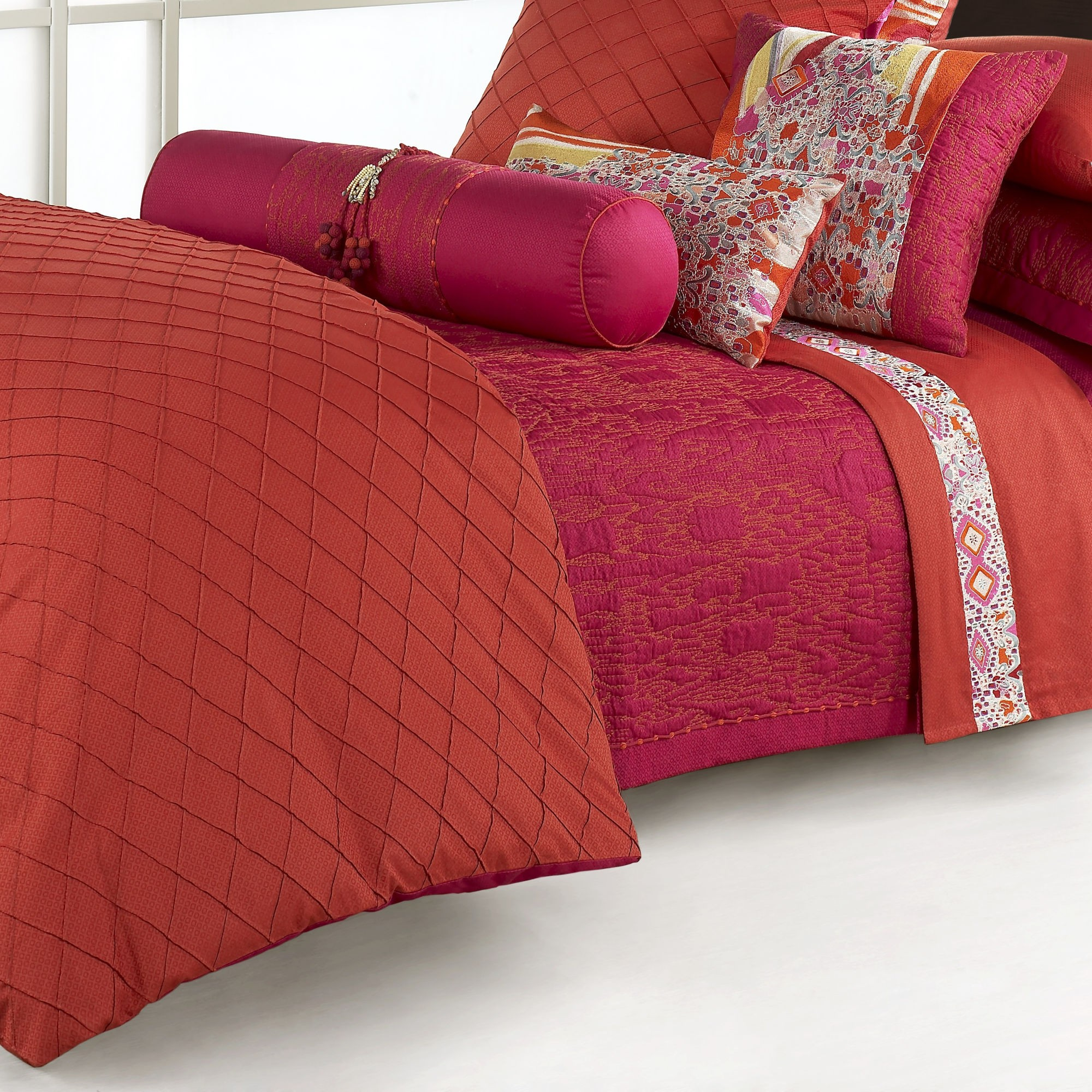 Great Natori Bedding with Comfortable Sheets for Bedroom: Red Sheets And Pillows Natori Bedding