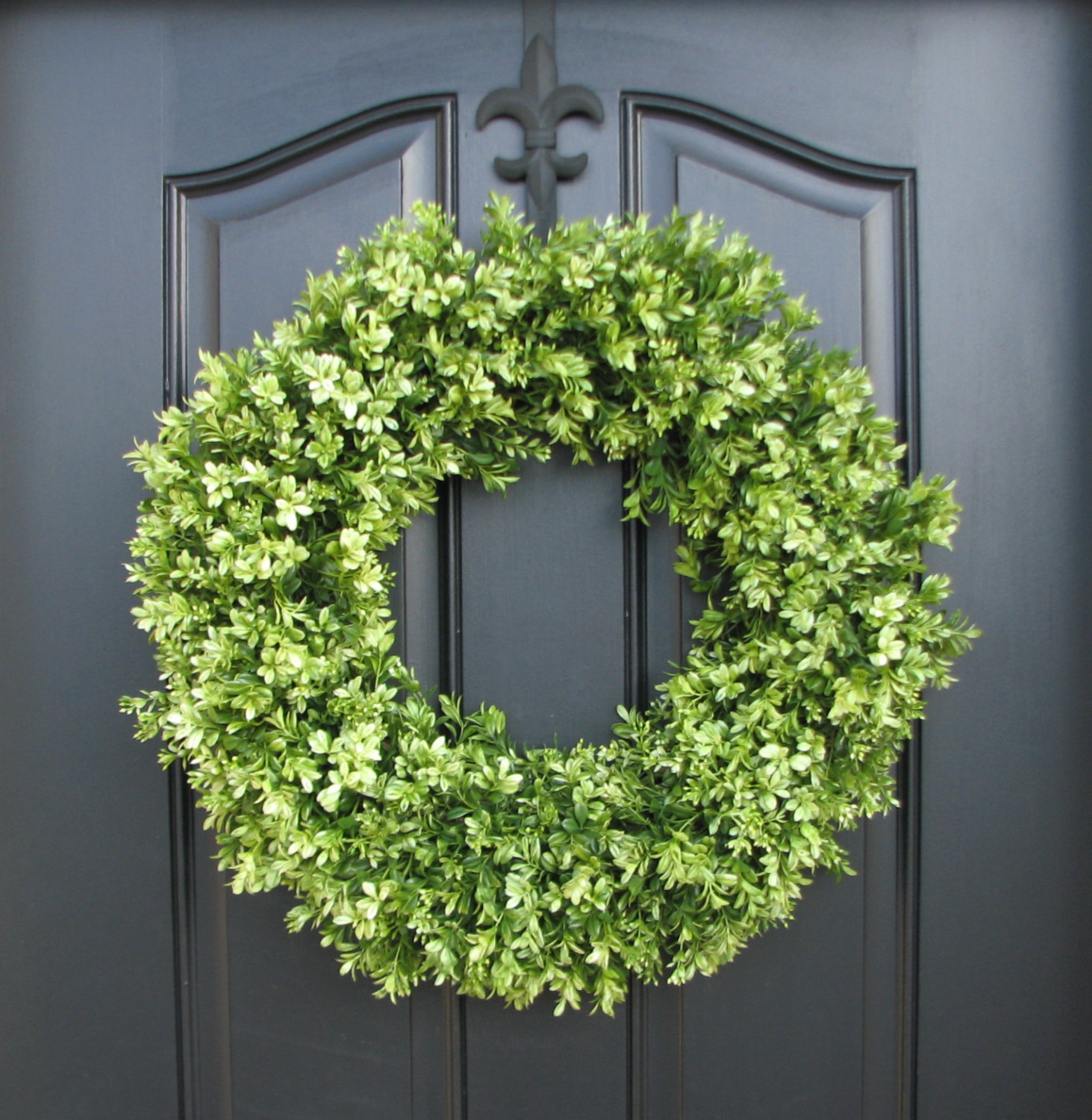 Interesting Artificial Boxwood Wreath with Simple Design for Exterior: Round Circle Shape Artificial Boxwood Wreath At Front Door