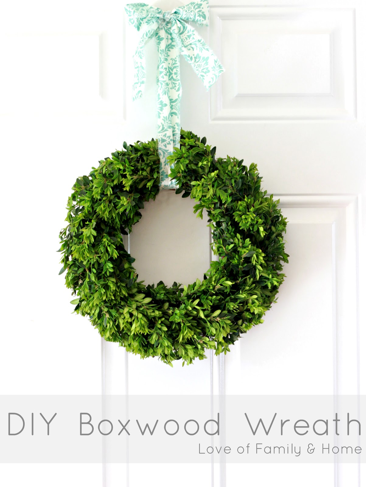 Interesting Artificial Boxwood Wreath with Simple Design for Exterior: Round Design Artificial Boxwood Wreath For Love Of Family