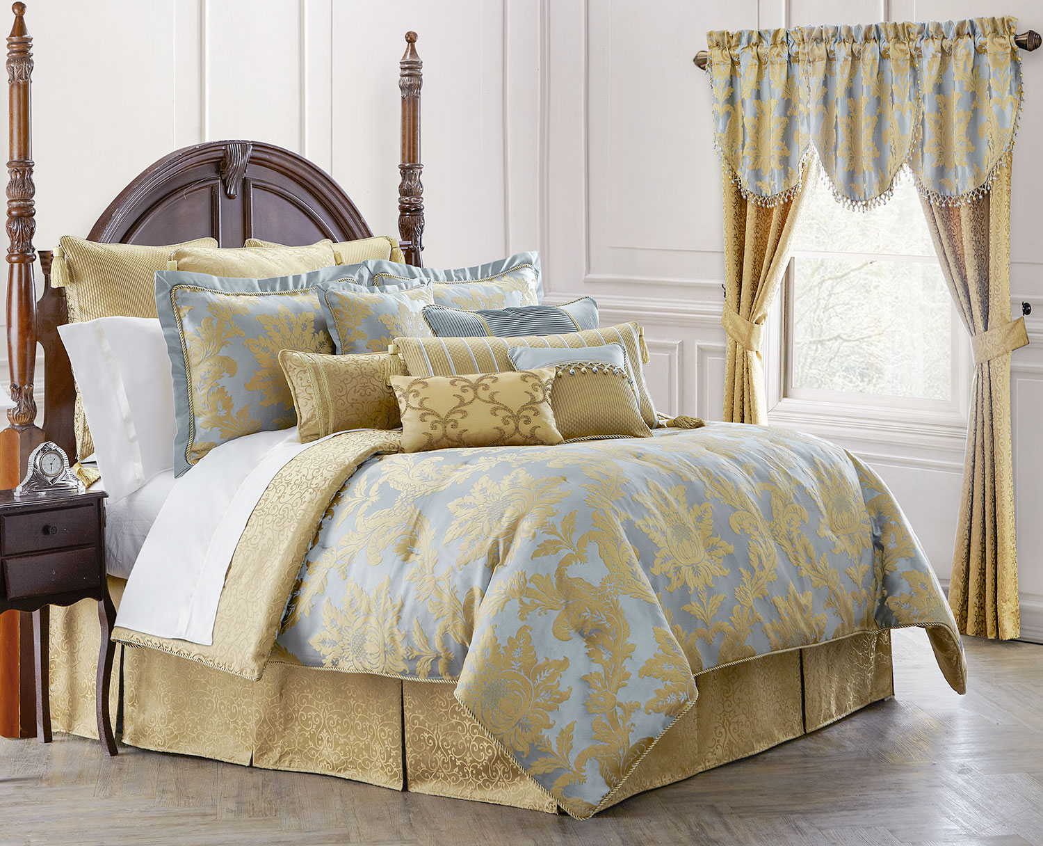 royal natori bedding with long curtains and unique floor