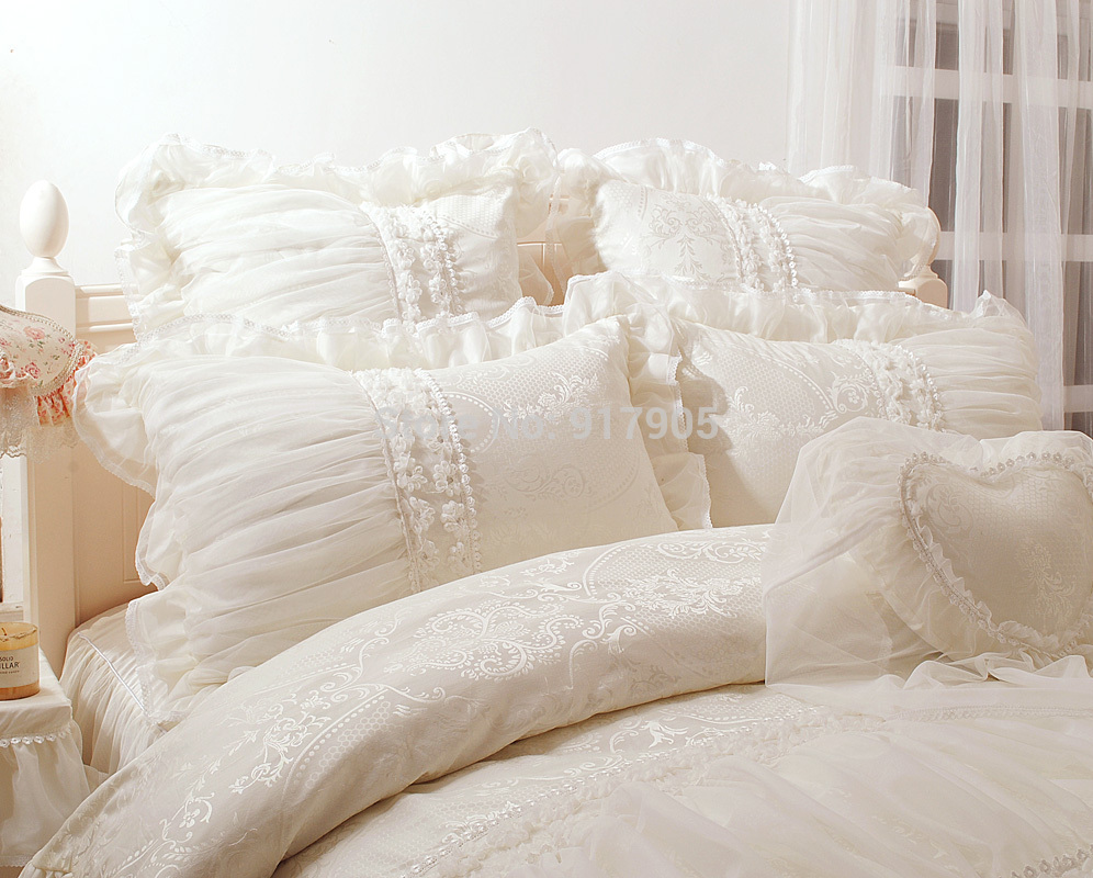 satin ruffle comforter and pillows
