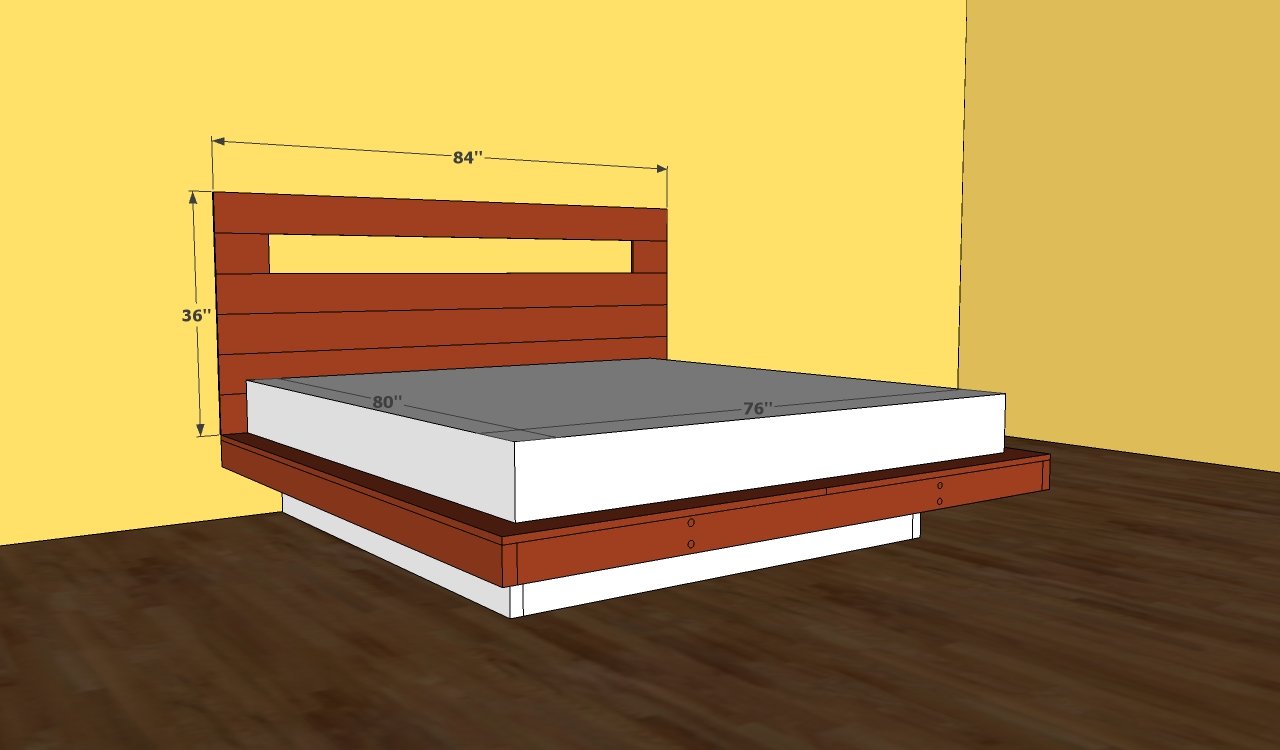 sketch of queen size platform bed