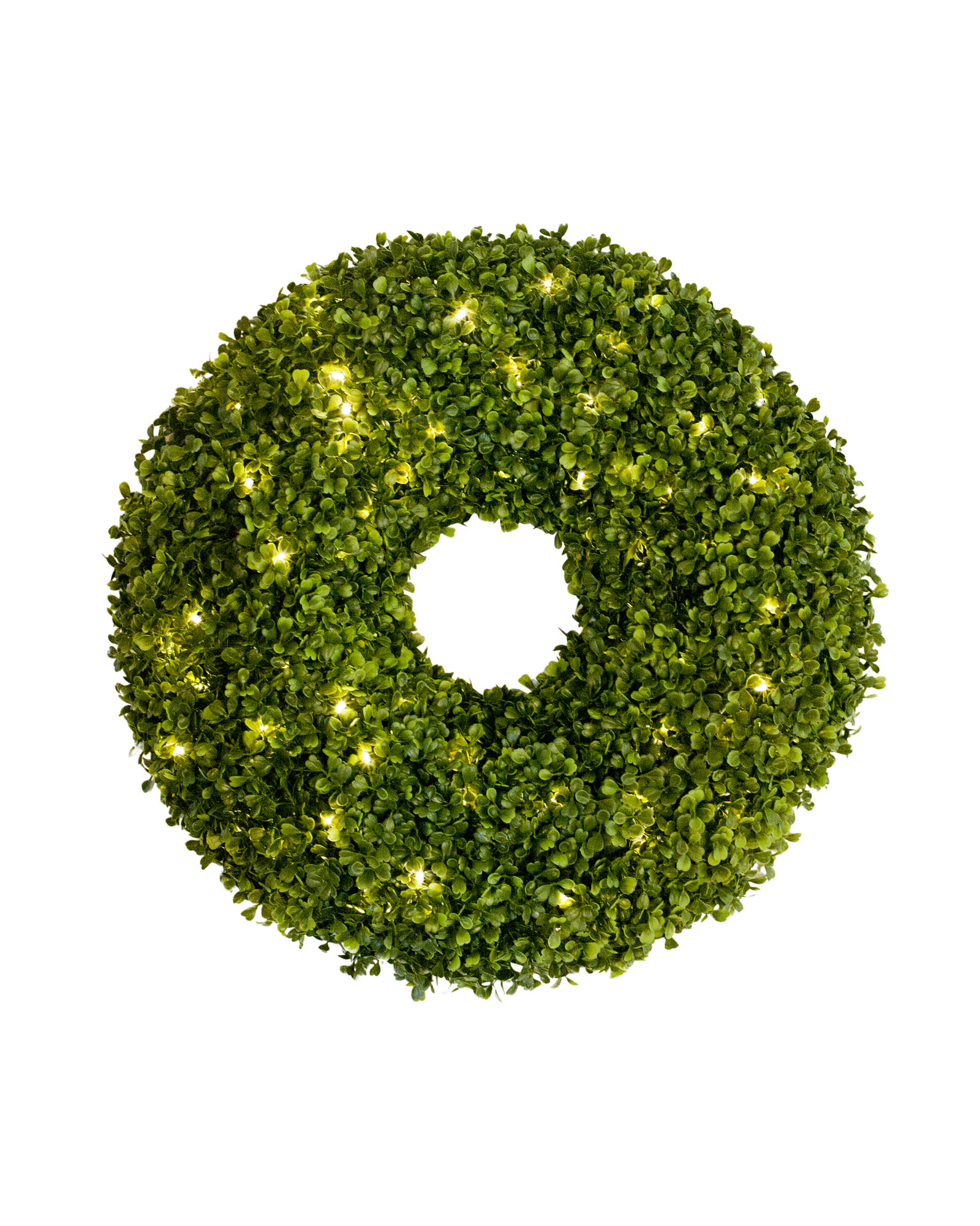 small green round artificial boxwood wreath