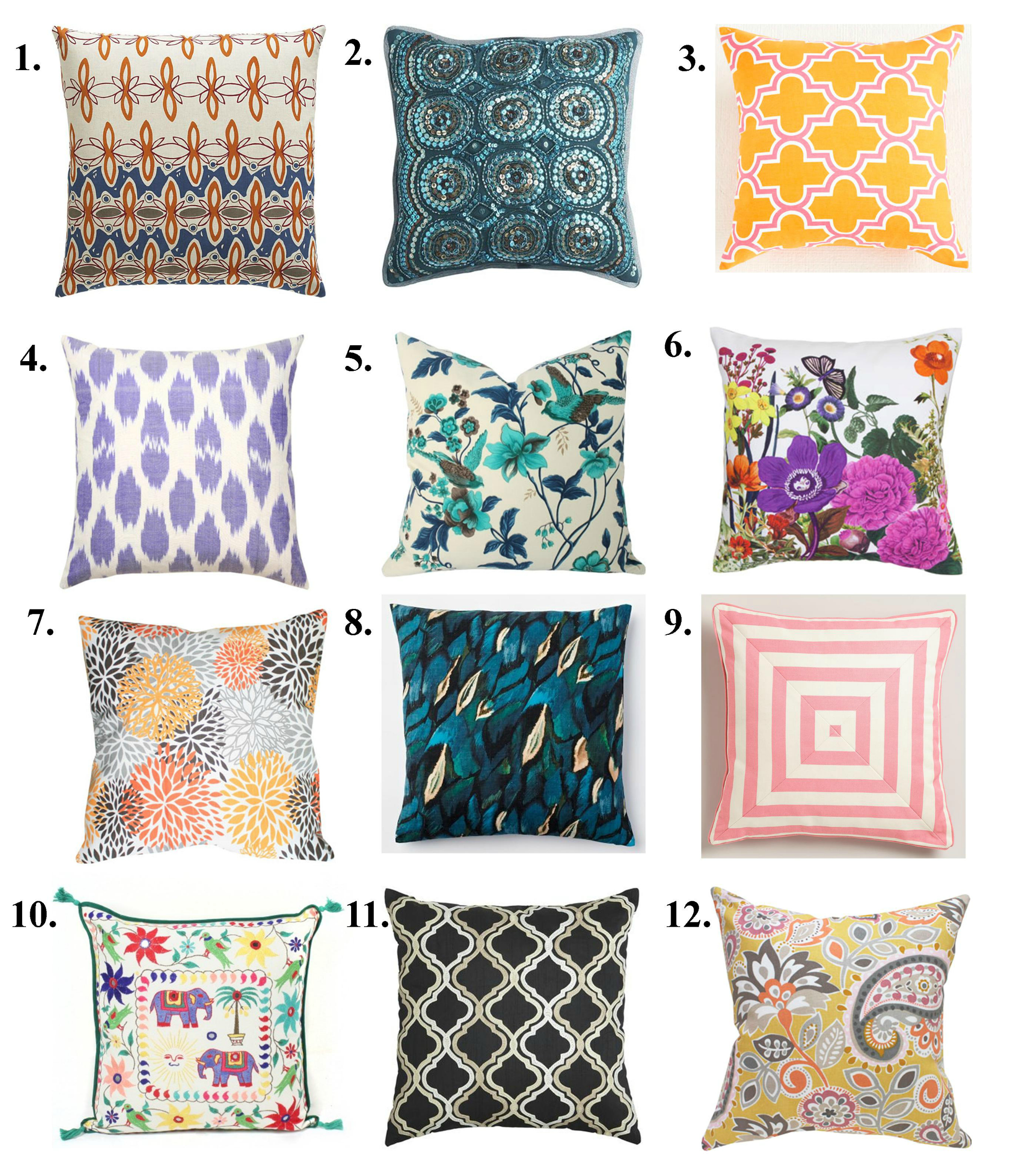 sofa pillows collection with popular colors