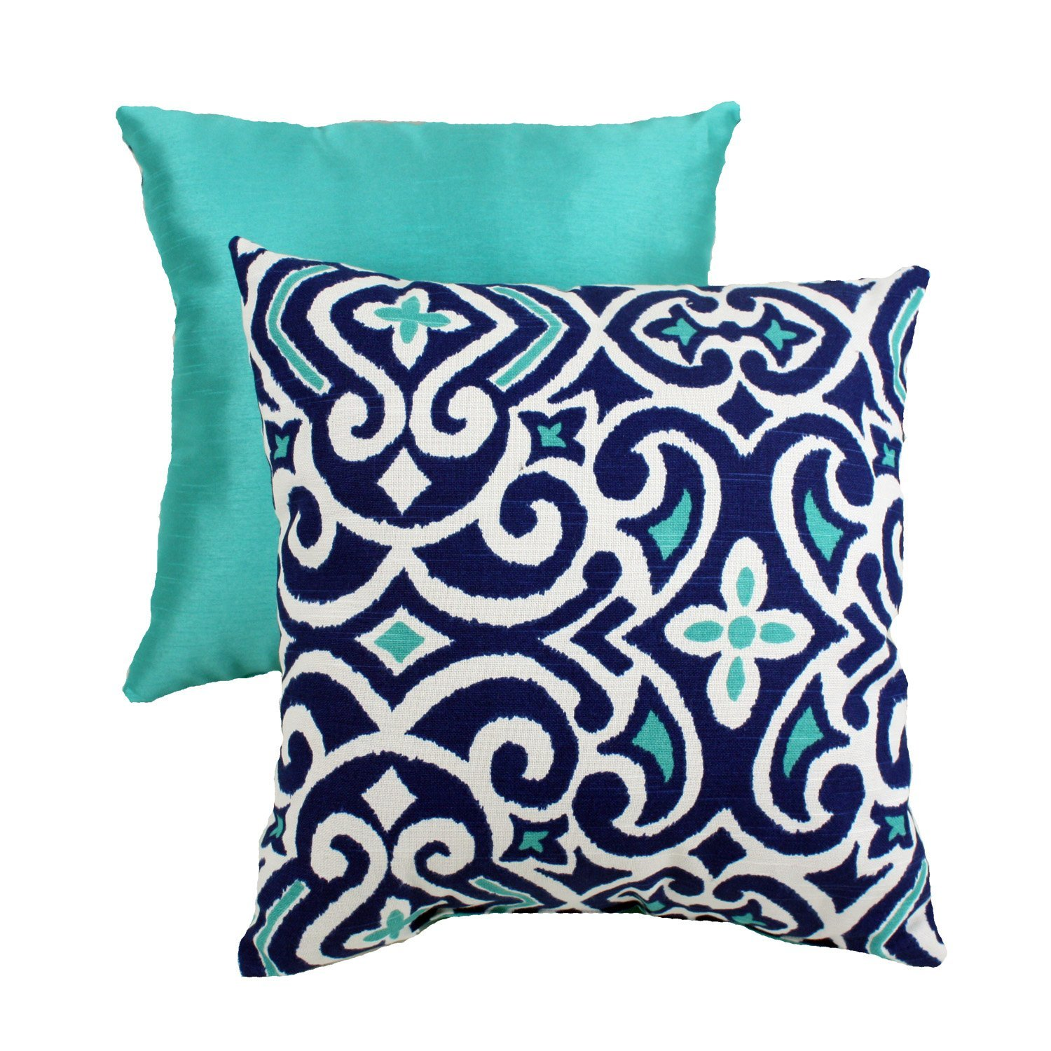 sofa pillows with dark blue and blue azzure colors