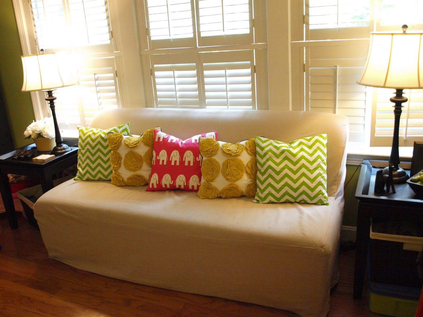 Sofa Pillows With Loveseat And Sidetable At Left And Right