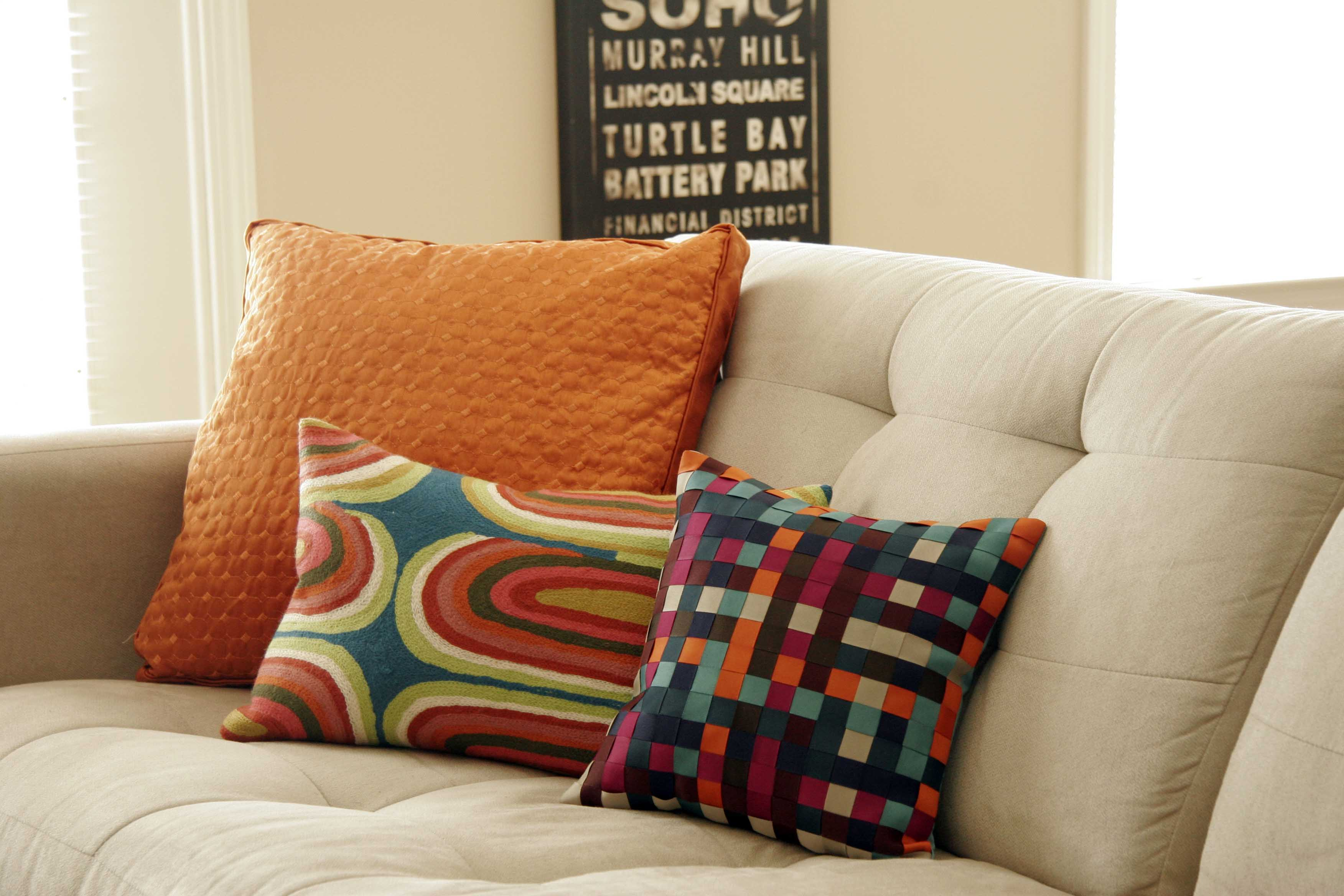 Home Decor: Sofa Pillows With Sofa For Living Room