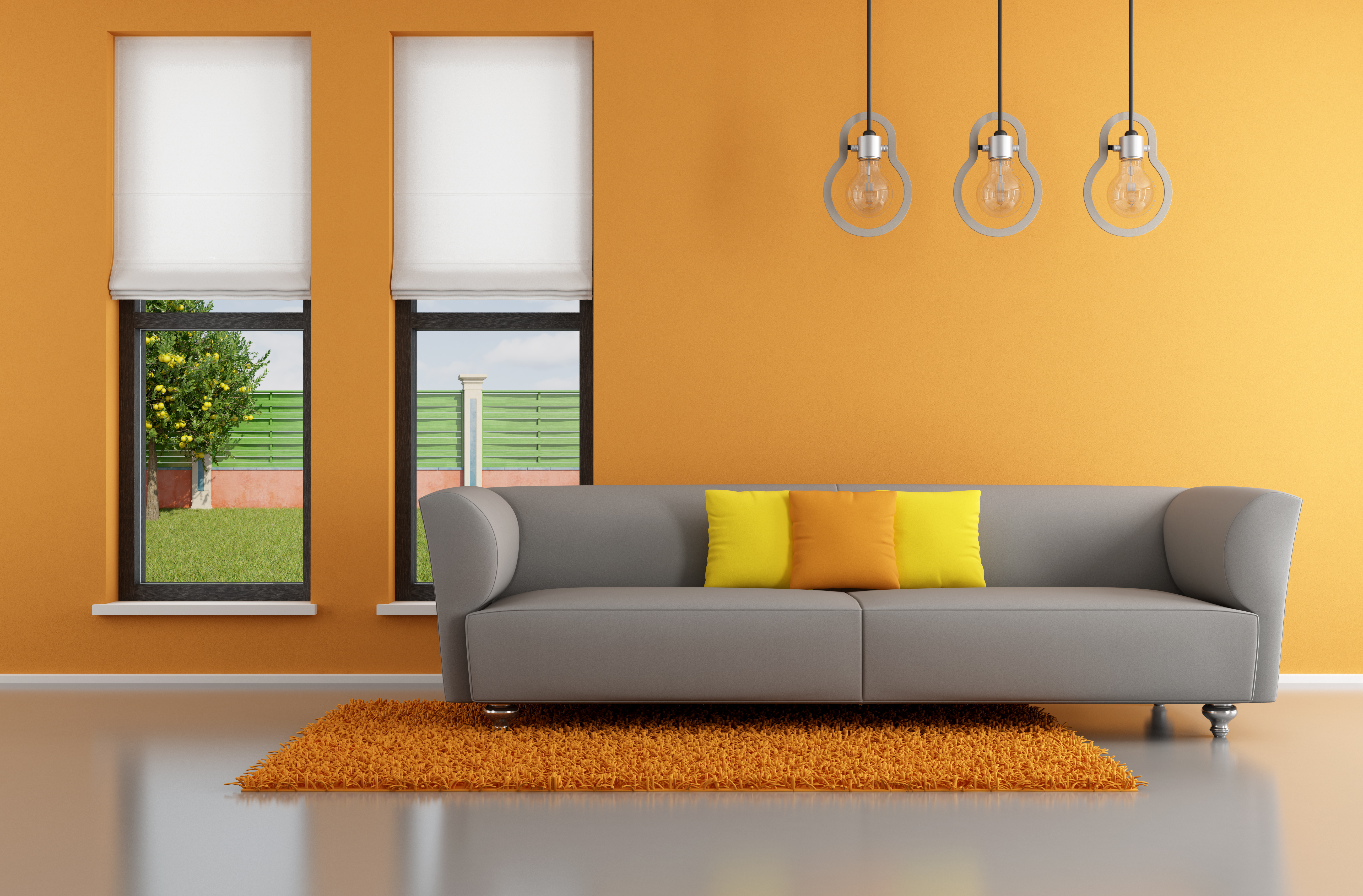 triple ceiling light with mini pendant and gray sofa also sofa pillows plus yellow rugs