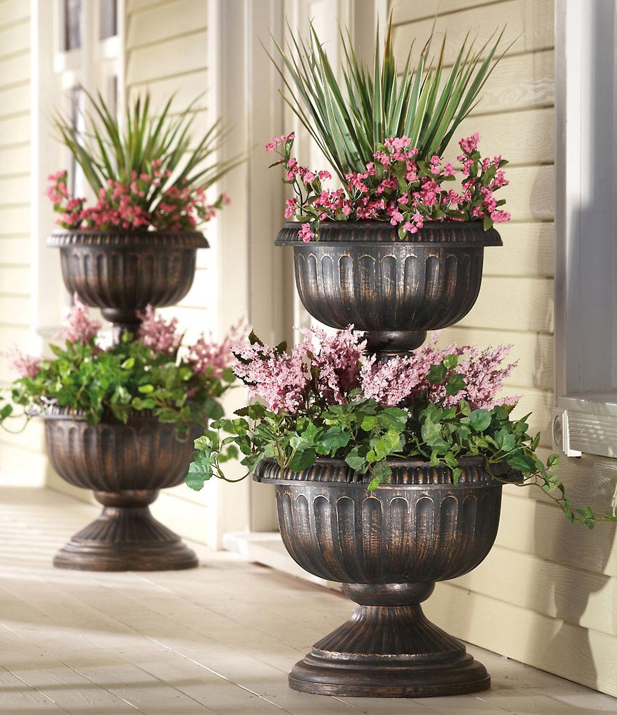 unique chrome black urn planters