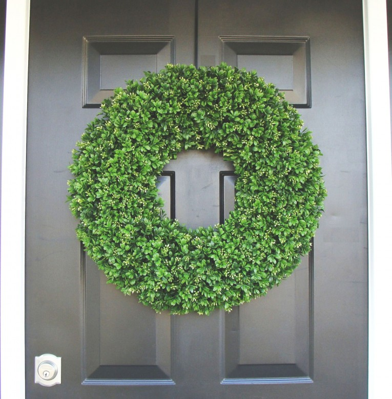 Unique Round Preserved Artificial Boxwood Wreath At Front Door