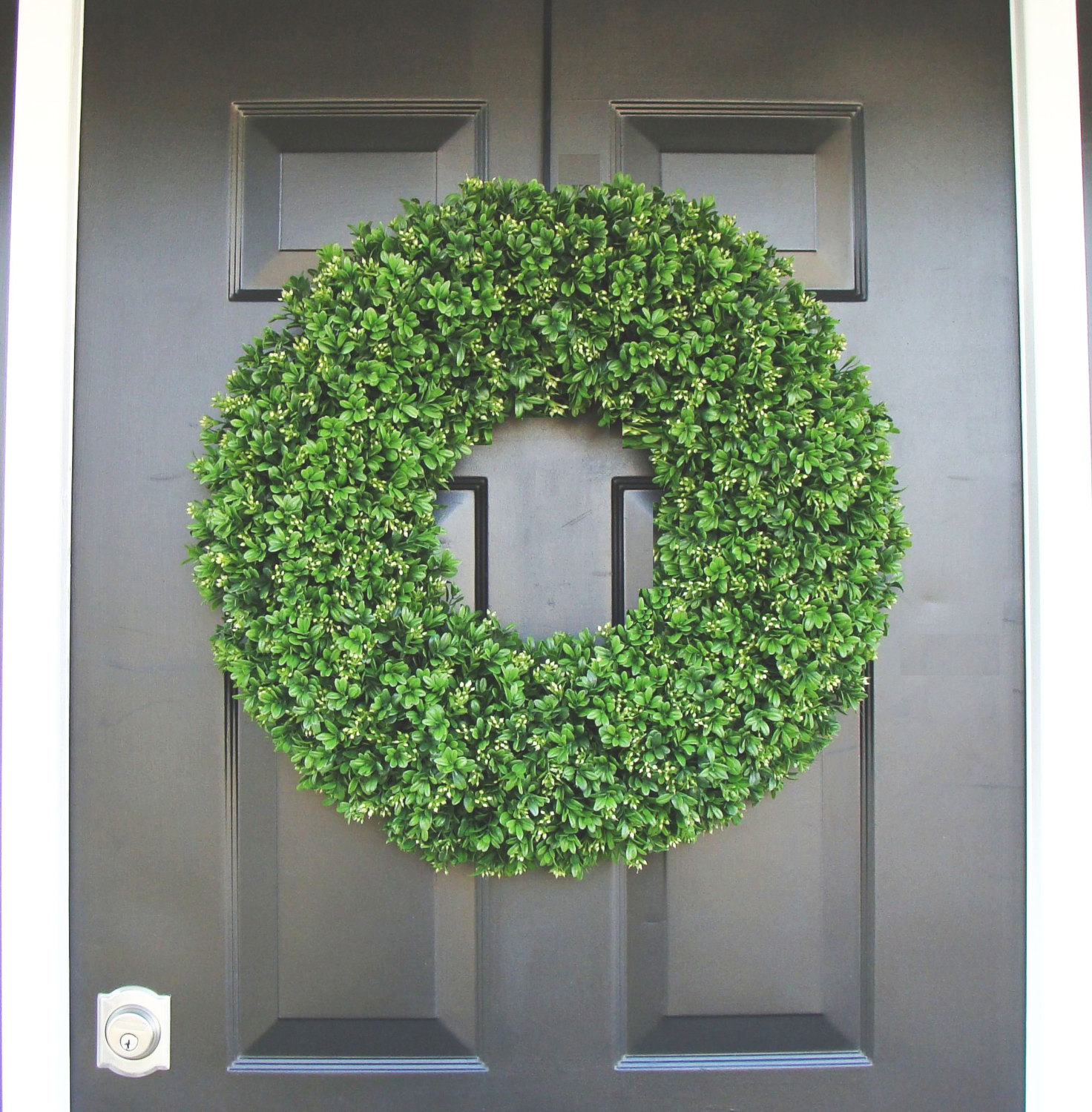 Interesting Artificial Boxwood Wreath with Simple Design for Exterior: Unique Round Preserved Artificial Boxwood Wreath At Front Door