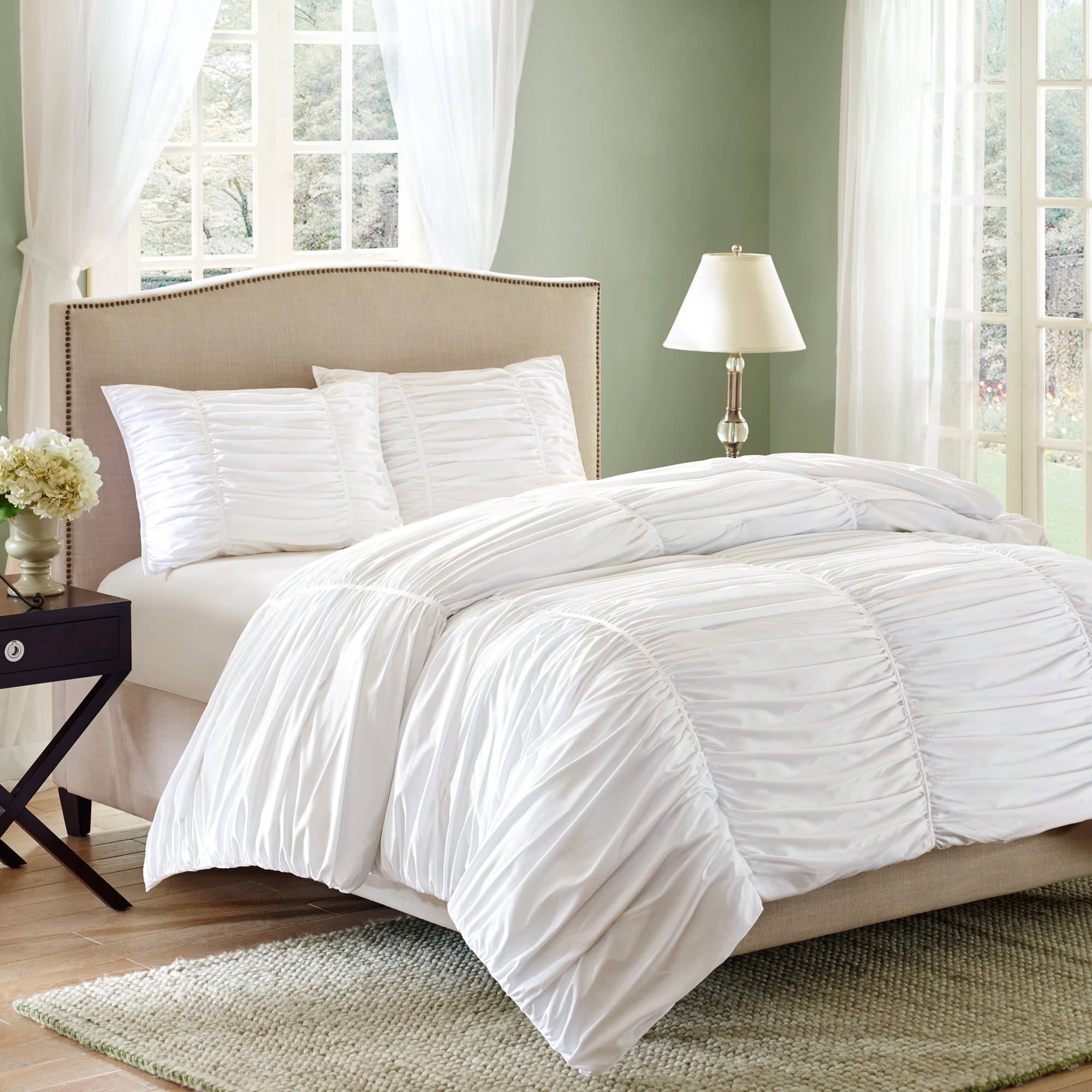 white lamp and lowes sidetable ruffle comforter