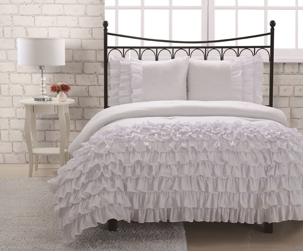 white lamp and white sheets ruffle comforter