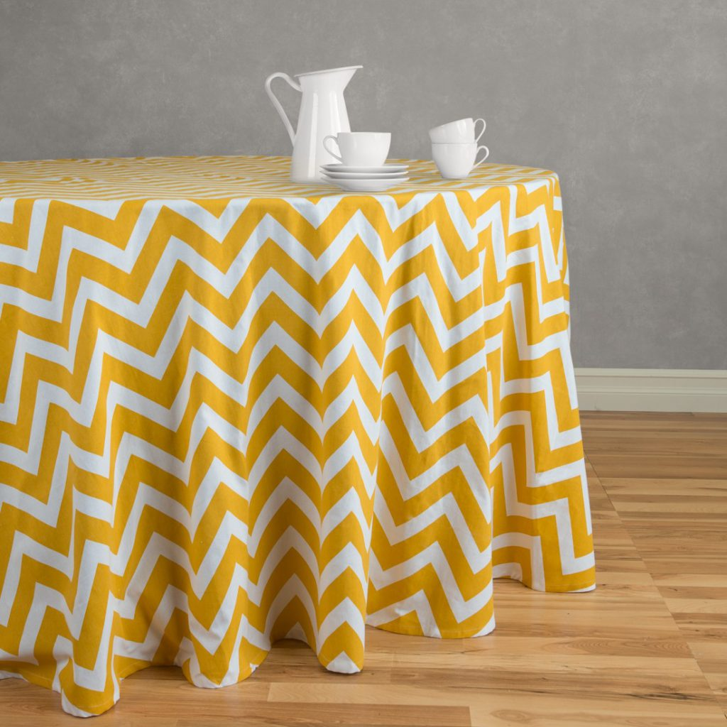 Yellow Zigzag 120 Round Tablecloth